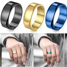 8mm Paar Ring für Männer Frauen Poliert Schwarz Blau Gold Farbe Edelstahl Klassische Hochzeit Band Liebhaber Ring Schmuck LKR165