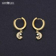 1 par de moda lua estrela brincos de ouro tira cor design simples hoop earings para mulheres moda jóias venda quente