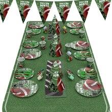 38 шт. футбольная Тема вентилятор одноразовая посуда набор футбол бумажная тарелка чашки, ребенок, душ вечерние Декор Дети День рождения принадлежности
