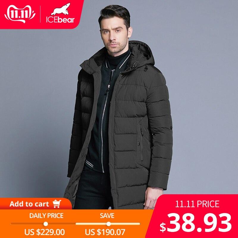 ICEbear 2019 hiver veste hommes chapeau détachable chaud manteau casual Parkas coton rembourré hiver veste hommes vêtements MWD18821D