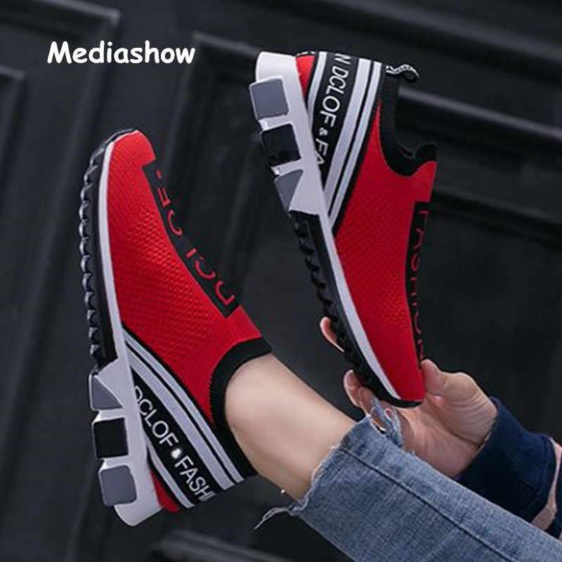 Scarpe da donna 2019 Scivolare su scarpe da ginnastica di Modo della Donna casual Scarpe Altezza Crescente Signore calzino Scarpe Più Il Formato 35-41