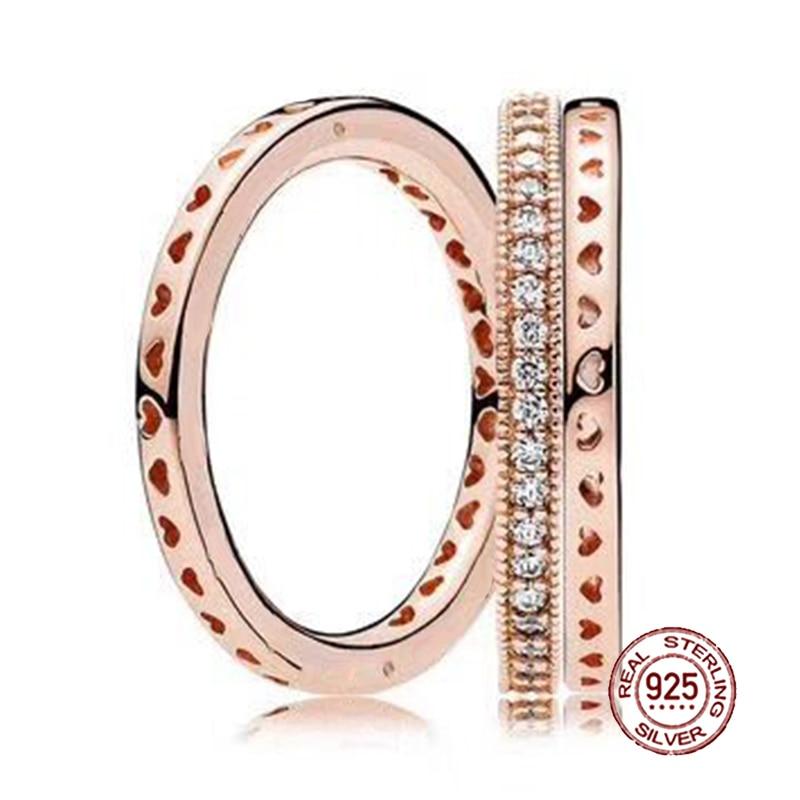 2018 nouveau 100% bague en argent Sterling 925 or Rose amour empilé anneau de mariage pour les femmes de mode bricolage cadeau bijoux