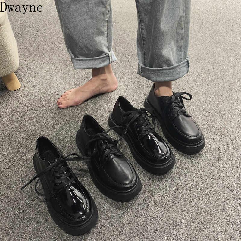 Küçük ayakkabı İngiliz rüzgar 2019 yeni yumuşak deri japon kadın jk temel modeller vahşi sonbahar koleji rüzgar düz ayakkabı