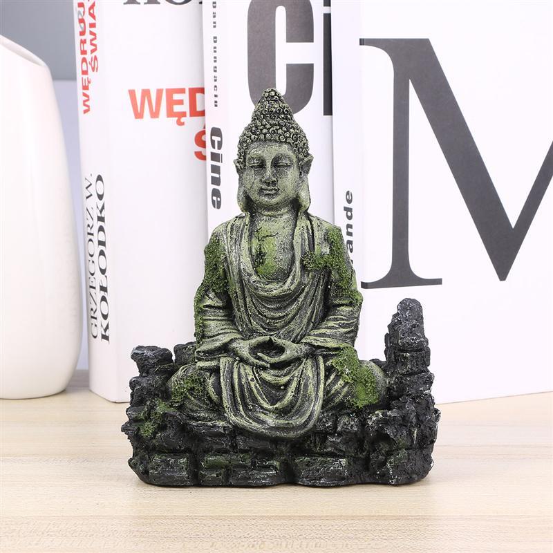 Смола декоративные камни для сада камней статуя аквариума сидящий Будда статуя искуственной травы для декора рептилий Танк орнамент