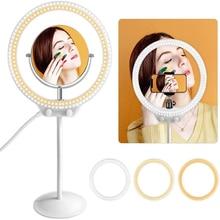ZOMEI LED Selfie lampa pierścieniowa oświetlenie fotograficzne aparat fotograficzny Studio fotograficzne wideo elastyczny stół Ringlight ze stojakiem na telefon do makijażu