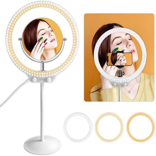 Zomei led selfie anel luz fotográfico iluminação câmera estúdio de vídeo fotográfico flexível mesa ringlight com suporte para o telefone maquiagem