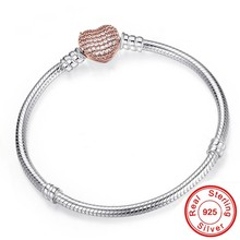 Romantic Original Silver Heart-Shaped Snake Chain Charm Bracelet For Women Brand Bracelet&Bangle DIY Jewelry Making Gift