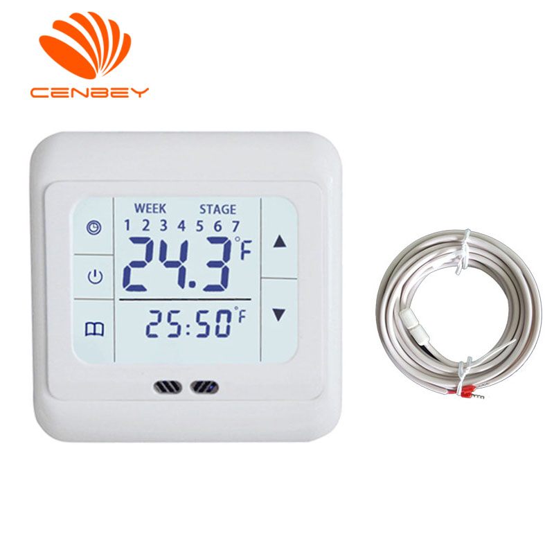 Room Thermostat Underfloor Heating Digital Thermostat With Floor Sensor Touch Screen Smart Heating Controller Programmable 16A