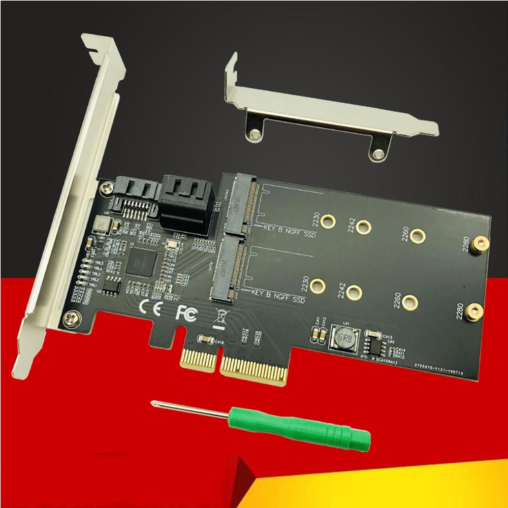 SATA Raid Controller SATA Raid M.2 PCI Express Raid Card 2Port SATA3.0 6Gbps + 2Port M.2 NGFF SSD B Key Support RAID0 RAID1 AHCI