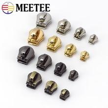 Meetee 10pcs 3# 5# 8# 10# Metal Zipper Head Pull Slider Zip Lock Bag Luggage Garment DIY Repair Kit Hardware Accessories AP604