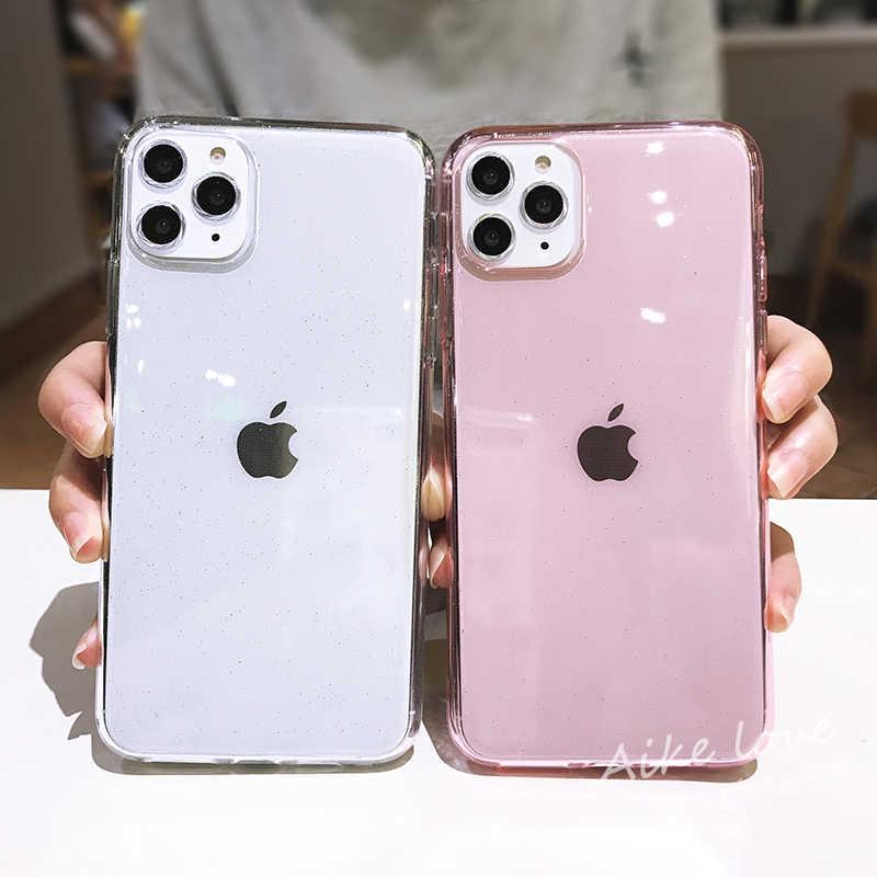 Lovecom 透明グリッターキャンディーカラーの電話ケース iphone 11 pro x xr xs 最大 7 8 6 6s プラス耐衝撃クリアソフト裏表紙