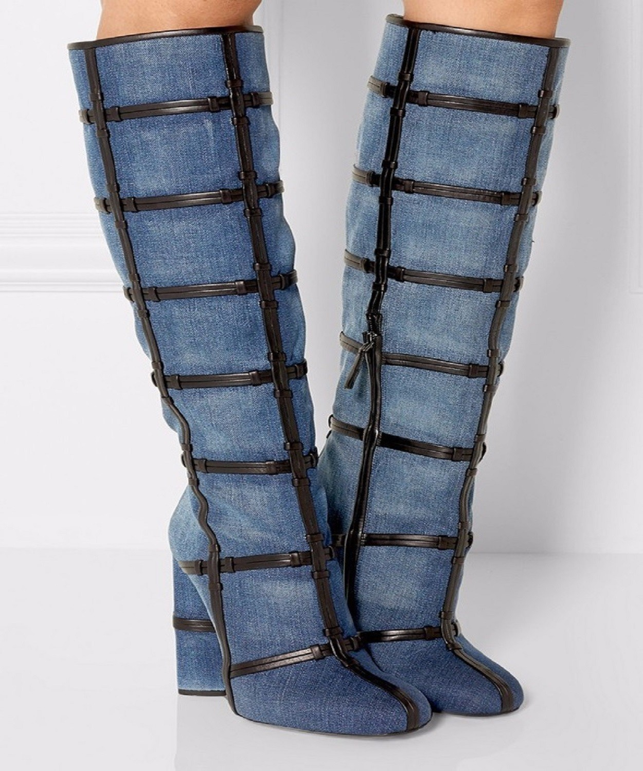 Denim Boots Knee High Boots Women's High Heel Thick Heel Cross Knot Leather Stripe Decoration Shoes Woman Long Boot Botas Mujer