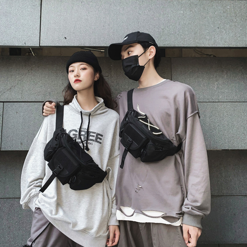 Fashion Black Waist Bag Trend Street Couple Chest Bag Small Youth Simple Bag Multifunction Belt Bag Light