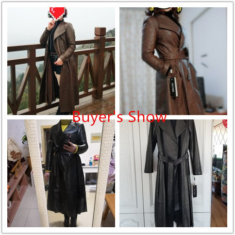 Real 100% Sheepskin Coat 2020 Autumn Winter Jacket Women Genuine Leather Jacket Long Trench Coats Chaqueta Mujer MY3714 S