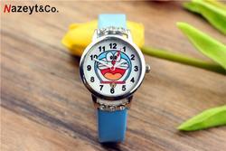 Новые популярные детские часы с рисунком дораэмона, с ремешком с бриллиантами