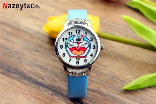 New Popular Children's Cartoon Doraemon Jingle Cat With Diamond Belt Watch