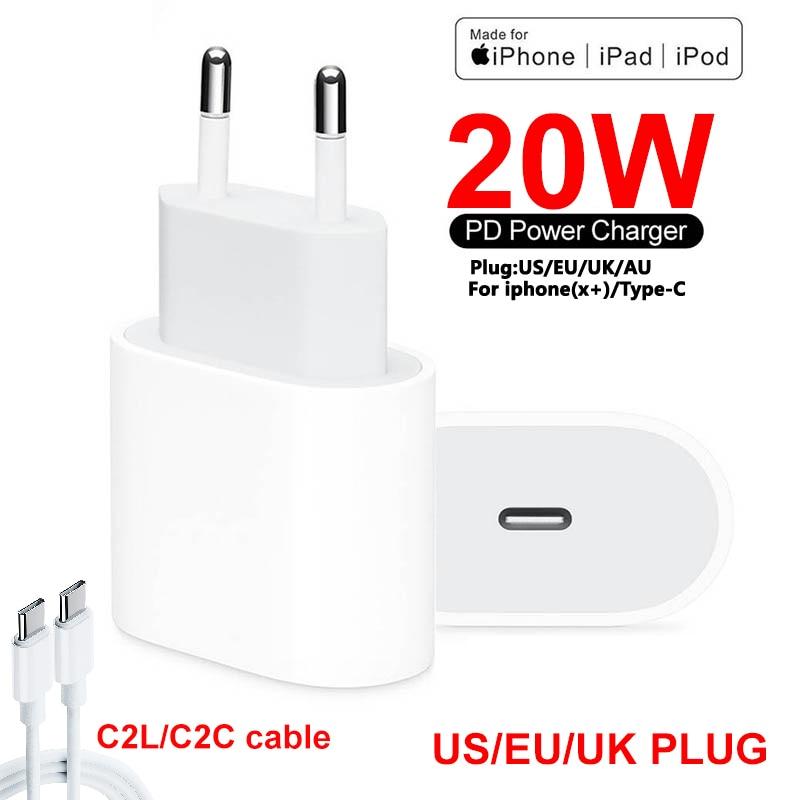 20w pd carregador rápido para iphone 12 pro max usb c c2l c2c adaptador uk ue plug carregador de viagem qc3.0 para apple 11 para samsung
