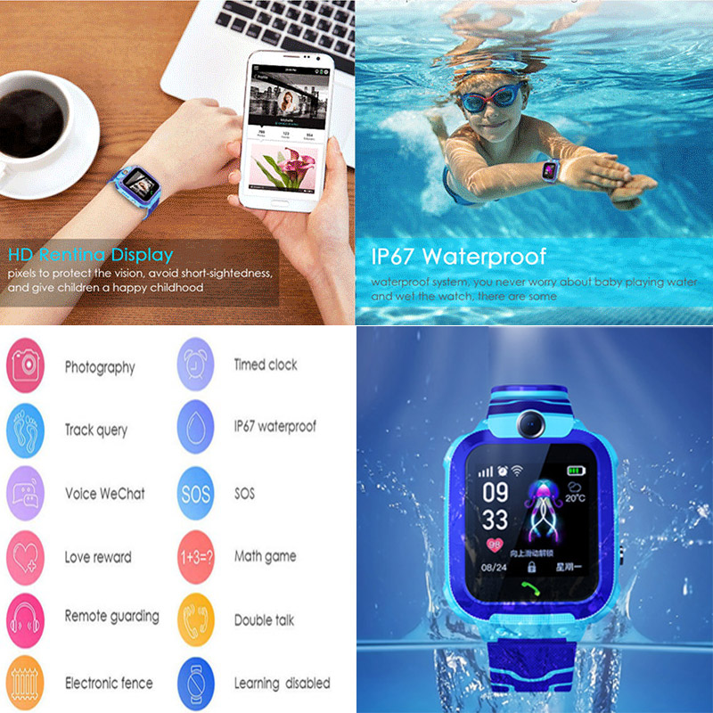 Q12 Children's Smart Watch SOS Phone Watch Smartwatch children phone Waterproof IP67 Kids phone For IOS Android Birthday Gift