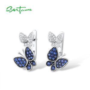 Image 2 - SANTUZZAเงินต่างหูผีเสื้อสำหรับผู้หญิงสีฟ้าสีขาวCubic Zirconiaต่างหูผู้หญิงบริสุทธิ์แท้925