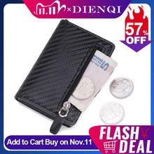 DIENQI Carbon Fiber Anti Rfid etui na karty kredytowe minimalistyczne portfele etui męskie Slim skórzana kieszonka na wizytówki tanie tanio Unisex CN (pochodzenie) Plaid 6 3cm C1911H9 9 6cm Id posiadacze kart Zipper hasp Biznes Poduszki 0 1kg Karta kredytowa