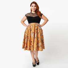 High Waist Floral Print Polka Dot Ladies Women Skirt Casual Loose Halloween Vintage Streetwear Femme Pleated Swing Midi Skirt polka dot print hanky hem skirt