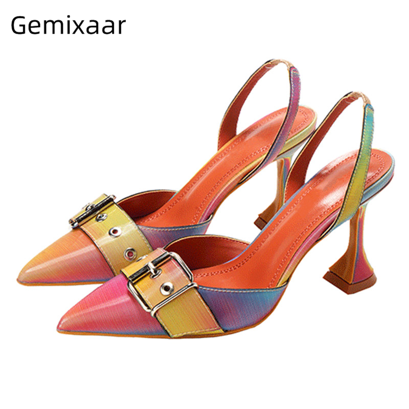 Vintage Women Shoes Pointed Cut Heel Patchwork Buckle High Heels Wedge Shoes E