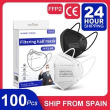 10-100 PCS Separate Package In Box Disposable FFP2 Masks Adult KN95 Filter Respirator FFP2Masks Black Mask Fpp2 Approved Mask