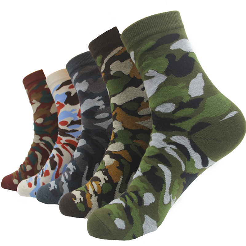 Men Military Socks Graffiti Green Crew Cotton Sock For Male Jungle Style Winter Warm Men's Camouflage Socks Gifts 2019