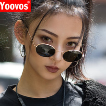 Yoovos 2019 Small Frame Sunglasses Women Retro Oval Mirror Metal Sun Glasses Vin