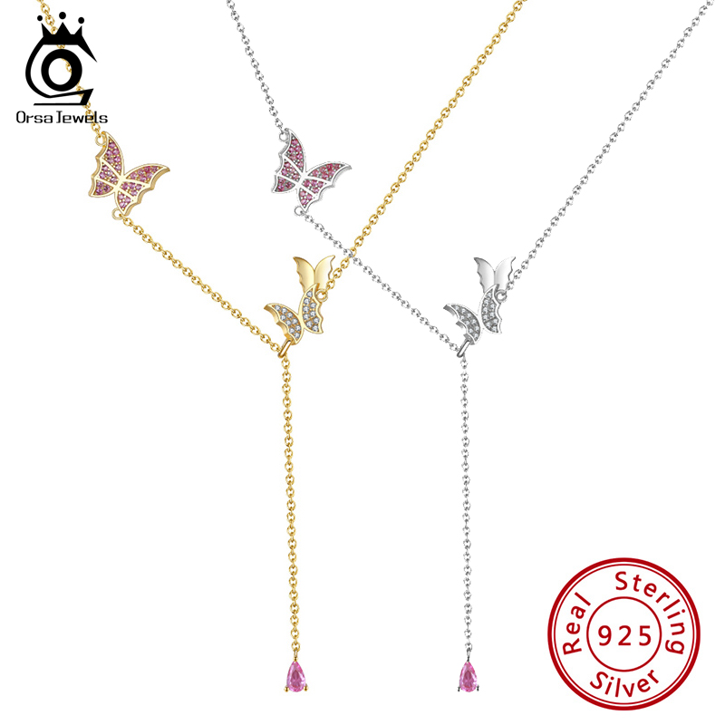 ORSA JEWELS 925 Sterling Silver Be Like The Butterfly Necklace Flying Butterfly Necklace Gift for Mom Daughter Girlfriend SN290
