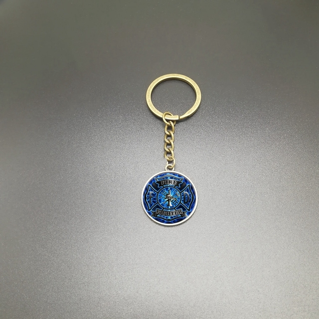 2019New Fashion Charm Popular Fireman Tool Glass Keychain Accessories