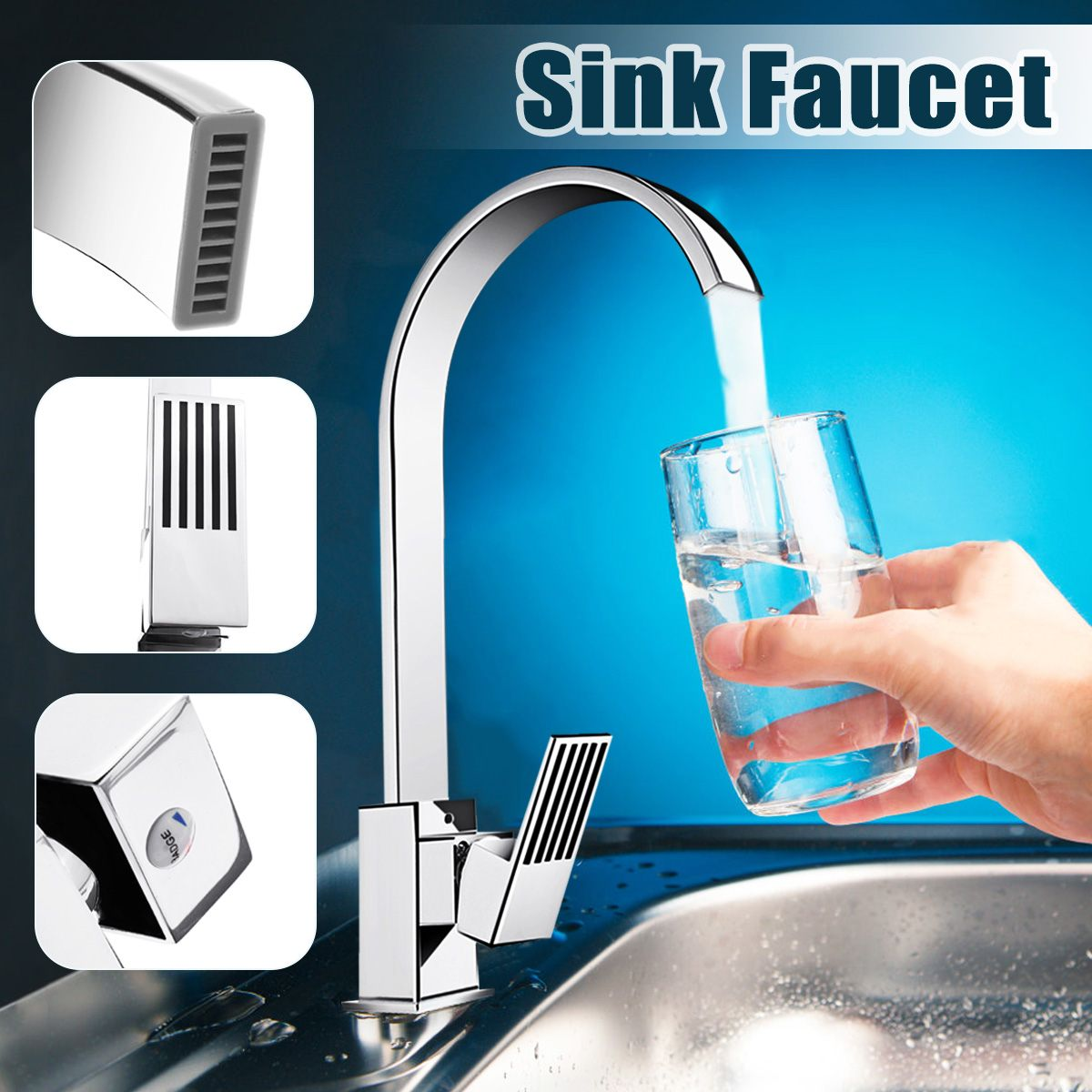 Kitchen Faucets Stainless Steel Kitchen Mixer Single Handle Bathroom Faucet Mixer Sink Tap Kitchen Faucet + Water Pipes