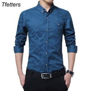 Image 1 - TFETTERS camisa manga larga para hombre, informal, de algodón, tejido Jacquard, Camisa ajustada, camisas de vestir, ropa para hombre