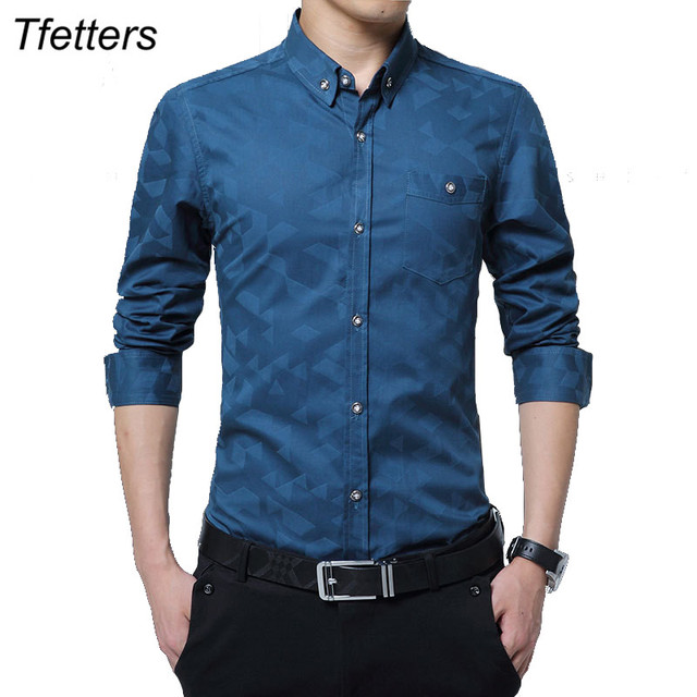 TFETTERS pamuklu akıllı rahat erkekler gömlek uzun kollu jakarlı örgü Slim Fit gömlek erkekler pamuk erkek gömlekler erkek giysileri