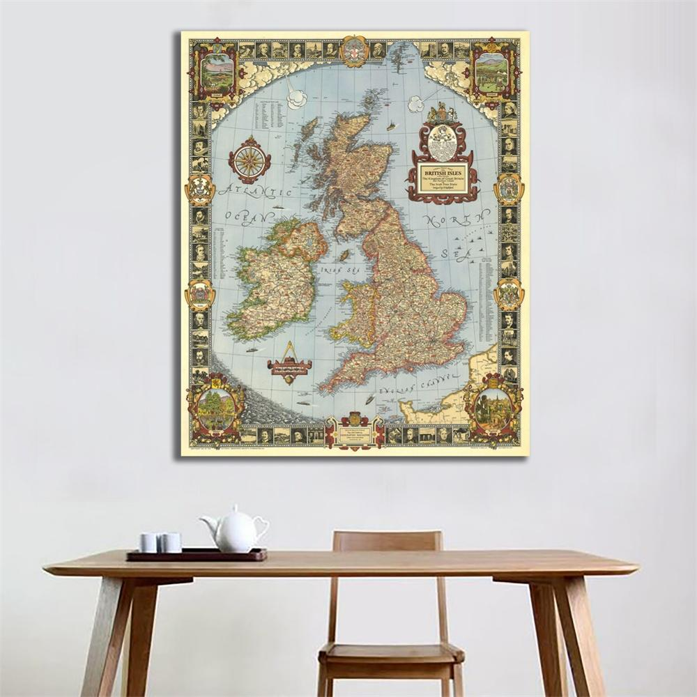 23.6x35.4 Inches Vintage Fine Canvas Waterproof Map Of The Kingdom Of Great British For Archeology And Wall Decor