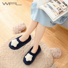 WFL Womens Shoes Warm Winter Soft Cotton Lovely Women Men Couples House Shoes Thick Sole Anti slip Bottom Home Slippers
