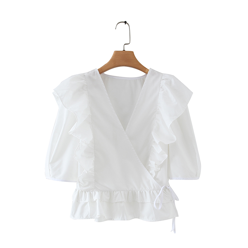 2020 Women Elegant Corss V Neck Puff Sleeve Cascading Ruffles White Blouse Ladies Hem Ruffles Chic Shirts Femininas Tops LS6409