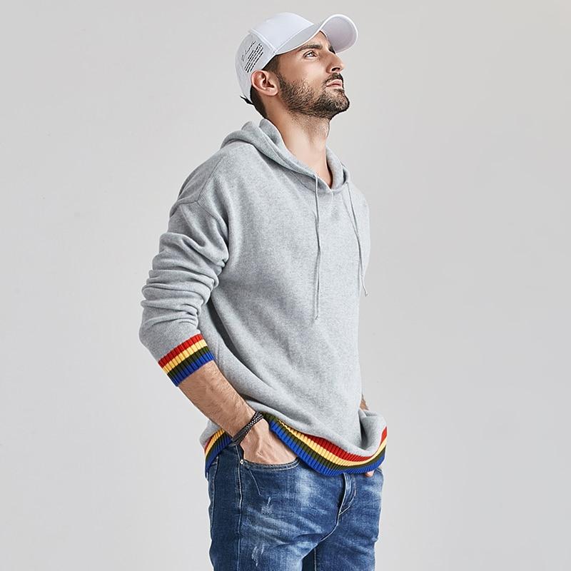 Aliksada 2020 Men's Autumn New Casual Cotton Outwear Hat Sweaters Hoodies Pullovers Men Fashion Classic Striped Sweater Coat Men 3