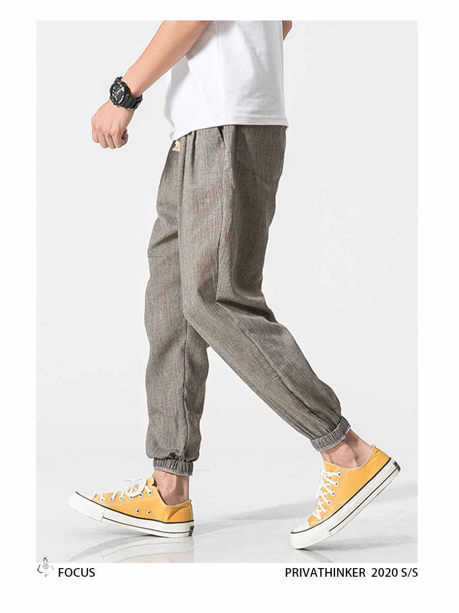 ジョギング男性パンツスウェットパンツ固体リネンオーバーオールカジュアルポケットスポーツ仕事カジュアルズボンの男性パンツストリートヒップホップパンツ