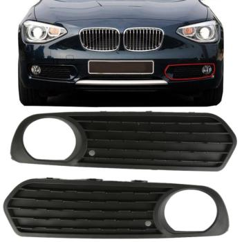 A Pair High Quality of Front Bumper Fog Light Covers Fog Lamp Grilles Black With Hole For 2011-2013 BMW F20 F21 116i 118i 120i image