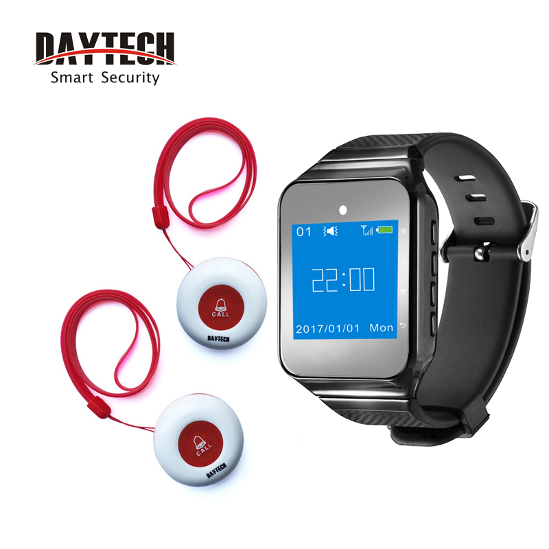 DAYTECH Caregiver Pager Hospital Wireless Nurse Calling System Emergency Call Button 1 Watch Receiver 2 Call Buzzers