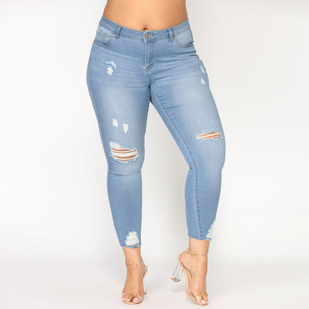 Jean Woman Mom Jeans Pants Boyfriend Jeans For Women With High Waist Push Up Large Size Ripped Stretch Ladies Jeans Denim 7xl