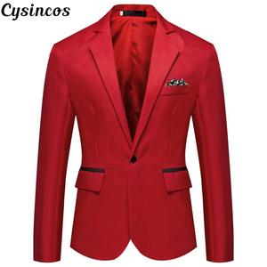 CYSINCOS Men Blazers Business One-Button Slim Formal Men's Fashion Tuxedos Coat Quality