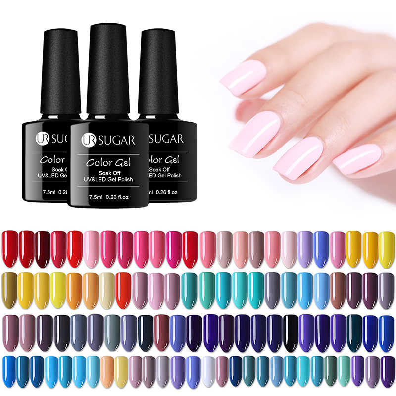 UR Gula Uv Gel Nail Polish Lampu LED Gel Varnish Gel Warna Semi Permanen Gel Pernis Kuku Seni Dasar top Coat