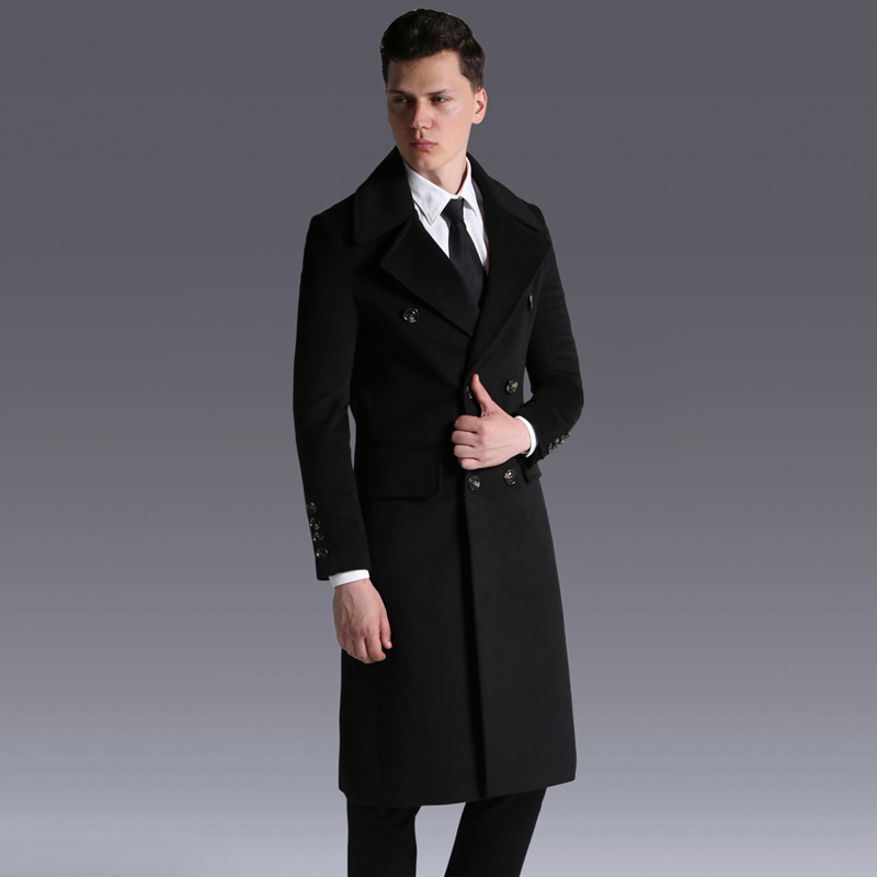 Style Coat Long Luxury Double Breasted Solid Color Wool Mens Jackets And Coats Plus Size 5XL 6XL Slim Fit Man Trench