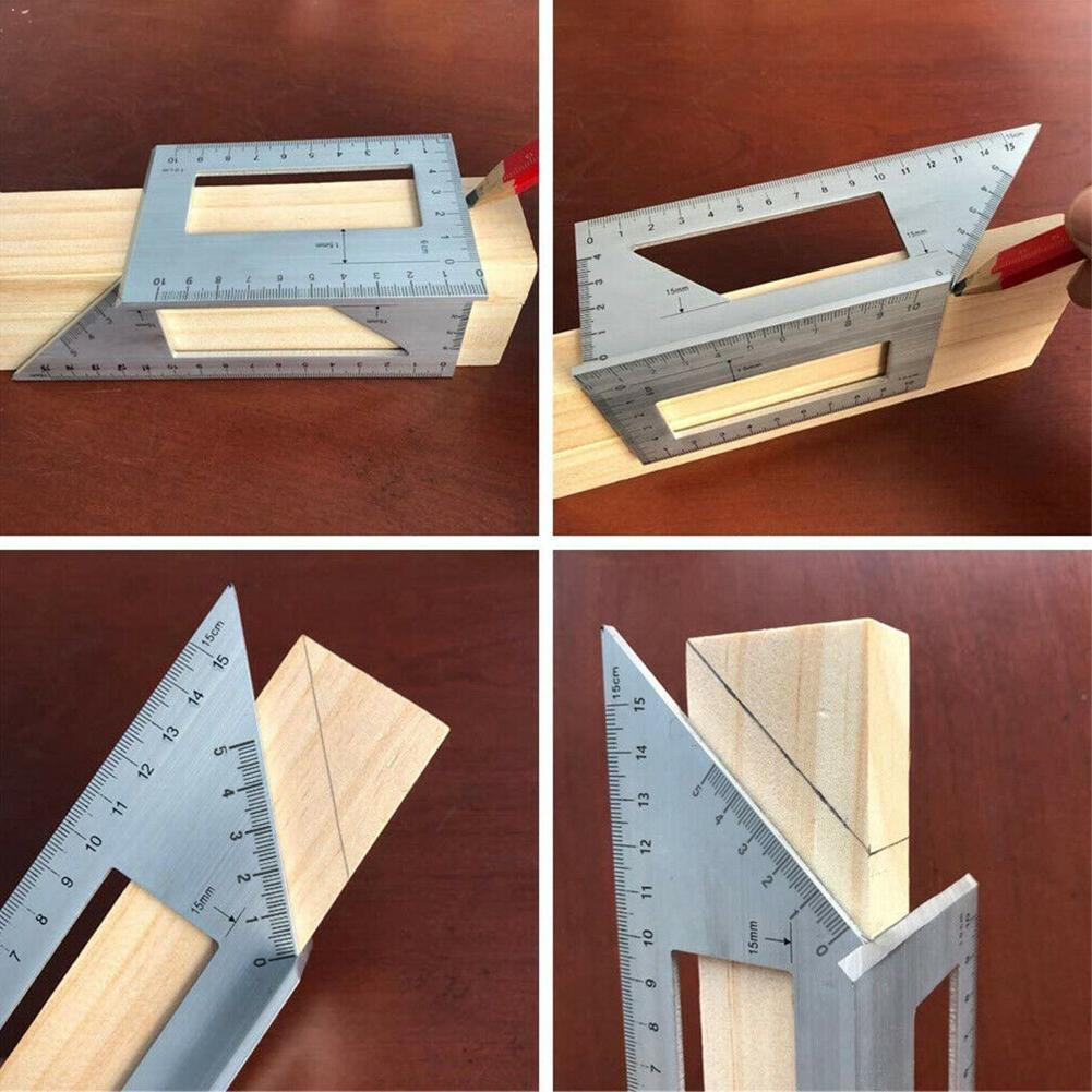 1PC Woodworking 3D Mitre Angle Measuring Square Size Metric Measure Tools Gauge Gauge Measuring Gauge Tool Ruler With Y1U1