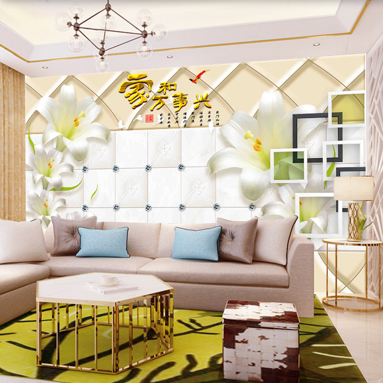 Living Room Large Mural 3D Seamless TV Background Wallpaper Mural European Soft Roll Image Wall Paper Wall Cloth