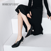 ROBESPIER New Quality Women Pumps Genuine Leather Square Shallow Mature Office Lady Shoes Fashion Strange Style Pearl Pumps A14
