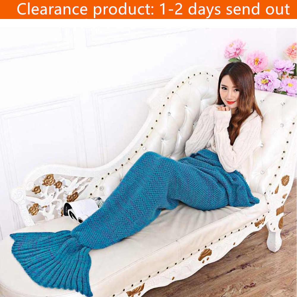Acrylic Material Fashion Adults Knitted Mermaid Tail Blanket Summer Quilt For Women Mommy Health Care Indoor Warming Blanket