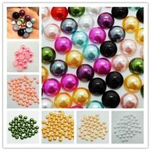 2/3/4/6/8/10/12 MM perles d'imitation demi-ronde dos plat perles en plastique mélangées en gros pour la fabrication de bijoux accessoires de bricolage